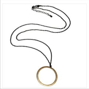 Kevia Circle Pendant Long Necklace Gold Blk Chain